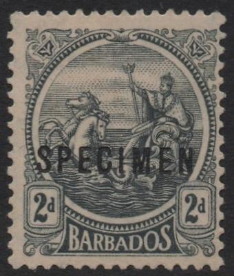 BARBADOS: 1921-1924 Sg 221 2d Grey Mounted Mint with Specimen Overprint (20616)