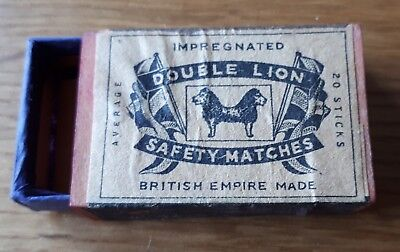 Vintage Double Lion Safety Matches Empty Matchbox