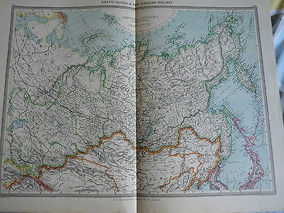 1900/1908 antique map ASIATIC  RUSSIA SIBERIA RAILWAY  Harmsworth Universal