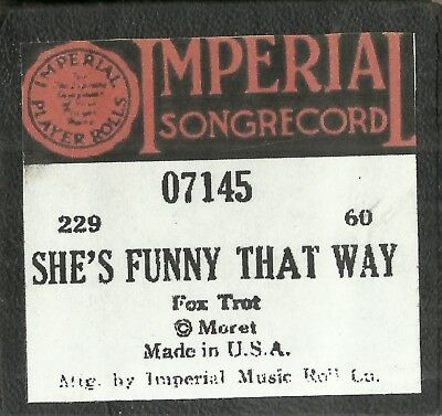 She's Funny That Way, Imperial 07145 Piano Roll Original
