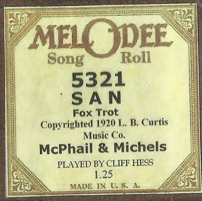 San, played by Cliff Hess, MelODee 5321 Piano Roll Original