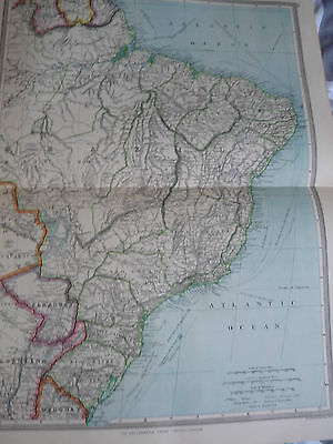 1900/1908 antique map NE SOUTH AMERICA Harmsworth Universal