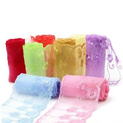 1 Yd Lace Trim Tulle Ribbon Floral Trimming DIY Sewing Craft Dress Embellishment