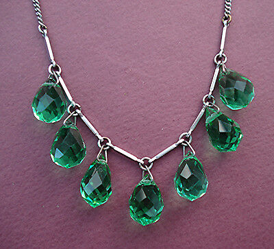 ART DECO SPRING GREEN CRYSTAL DROPS & CHROME PANELS WIRED NECKLACE Vintage 1930s