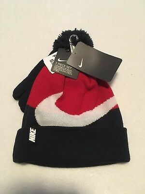 NWT NEW Nike Hat and Gloves Set Knit Beanie Red white blue Youth Kid 8/20