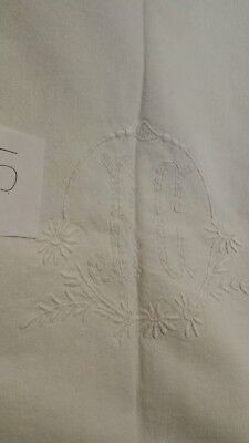 Vintage French Linen Dowry Sheet embroidered Letters RC and ladder work  (#5)