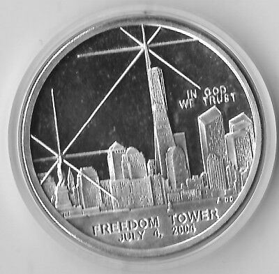 New York Freedom Tower Dollar 2004 WTC Recovery Proof Coin Silver Clad (NMI)