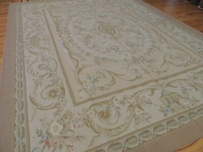 Beautiful 8x10 French Aubusson Style Area Rug Beige Gold green coral wool