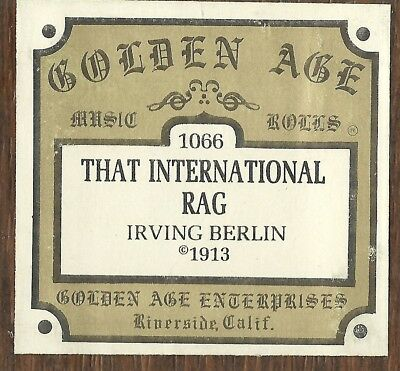 That International Rag (Irving Berlin) Starr 2492 Piano Roll rct Golden Age 1066