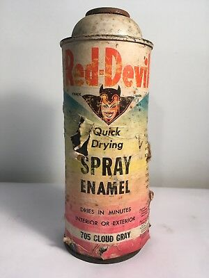 Very Rare Red Devil Big Devil Paper Label Cloud Gray Spray Paint Can Graffiti