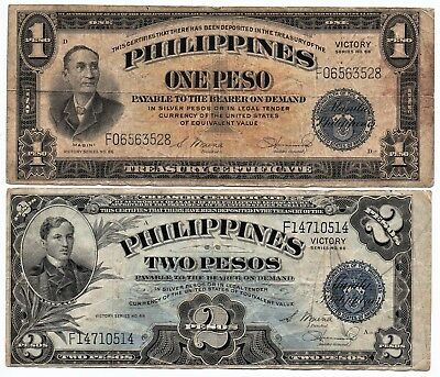 Philippines Central Bank Victory Notes One & Two Pesos