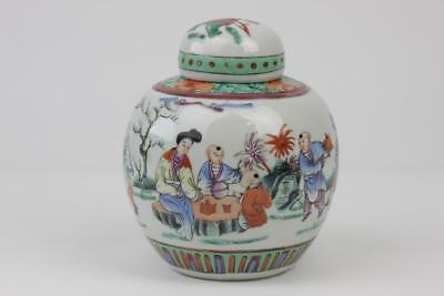 Chinese Porcelain Ginger Jar & Cover Famille Rose Figures Red 4 Character Mark