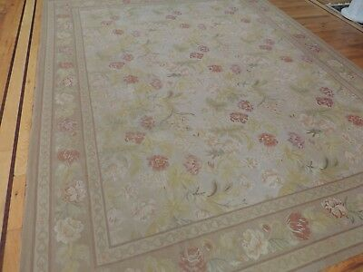 Sweet 8x10 French Aubusson Style Area Rug Beige Yellow Coral/Rust Green Leaf