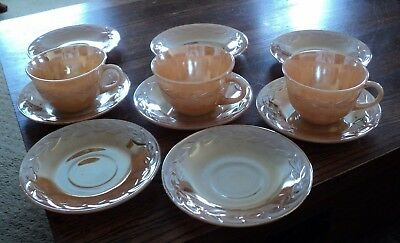 Anchor Hocking Fire-King Peach Luster Laurel 3 Coffee/Tea Cups & 8 Saucers=11