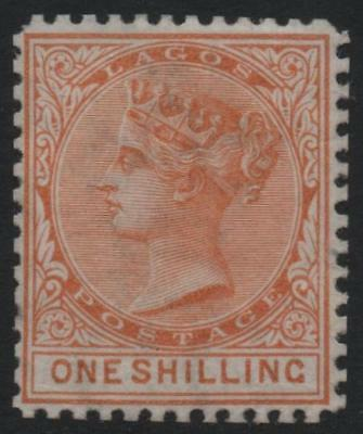 LAGOS: 1875 Sg 8 1/- Orange-Brown Perf 12½ Lightly Mounted Mint Cat £700 (21011)