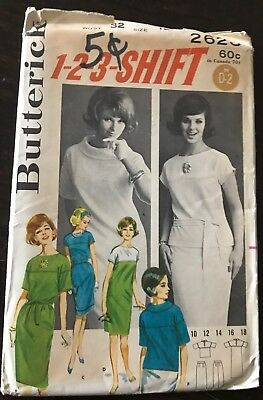 Vintage Butterick 1960s Sewing Pattern #2623 Misses Dress SZ 12 (Bust 32) UNCUT