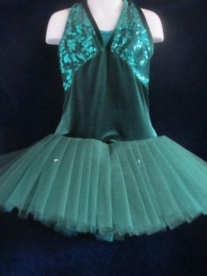 Deep Green Velvet Sequin Pleats Tutu Curtain Call Costume AMED