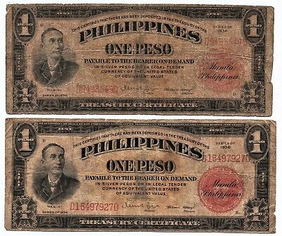 (2) 1936 One Peso (Silver Certificate) Red (Philippines - U.s.) Notes