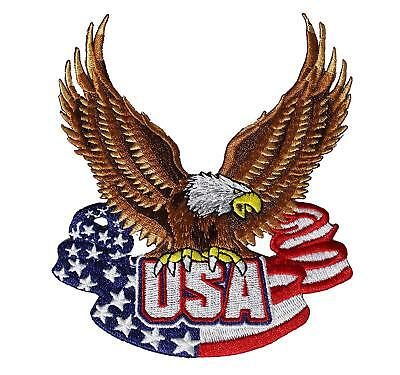 USA American Flag Bald Eagle Embroidered Iron On Patch - Patriotic Biker 148-Q