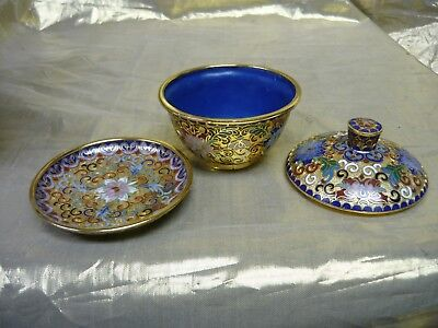 Small Vintage Chinese Champleve' Cup, Lid and Plate