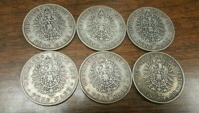 6 OLD 1800s GERMANY SILVER 5 MARK****