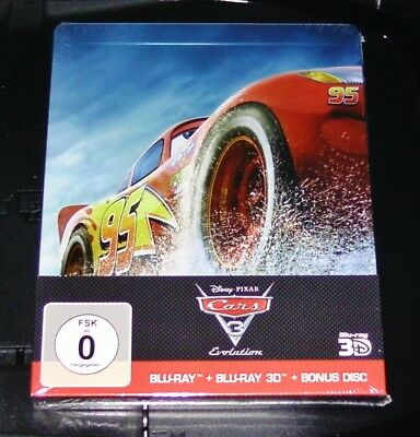 Cars 3 Evolution 3D Embossed Limited Steelbook Edition 3 Blu-Ray Set New
