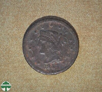 1845 Braided Hair Liberty Head - One Cent - Very Good Details