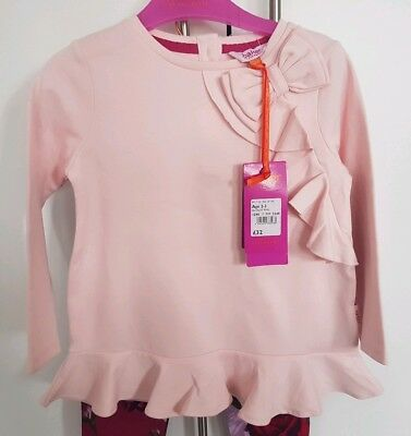 Girls 🎀 TED BAKER 🎀 Pink Frilly Top/ J Rose Print Outfit Set 2/3 Yrs BNWT 💗