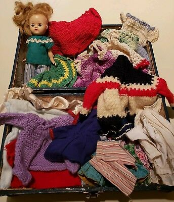 1950s VINTAGE DOLL CLOTHES Lot, doll, metal case,  hand made clothes