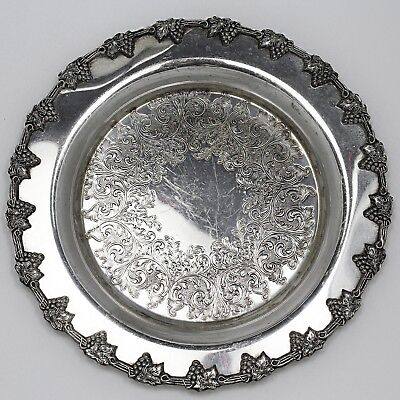 Vintage Wm.A Rogers silver plate on copper Tray Platter Old English reproduction