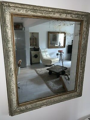 Antique Wood And Plaster Mirror, With Boarded Back, Great Patina