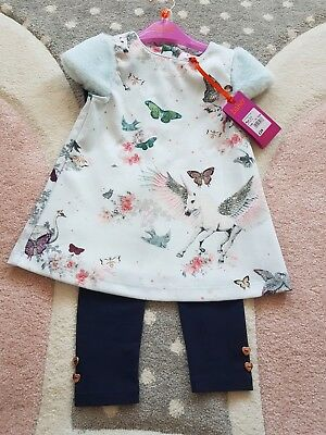 Girls🎀 TED BAKER 🎀 2 Pc Unicorn Pegasus Print Outfit Set BNWT 2-3 Yrs Rrp£39💗