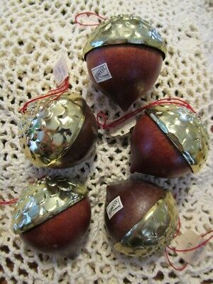 Lot of 5 Vintage Acorn Wood and Gold metal Christmas Ornament Neiman Marcus X61