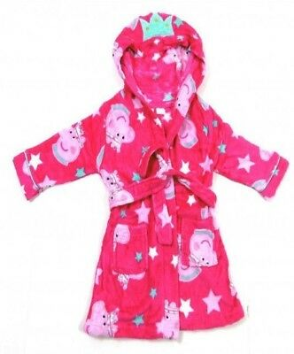 Peppa Pig Princess Girls Pink Hood Fluffy Dressing Gown Robe Age 2 3 4 5 Years