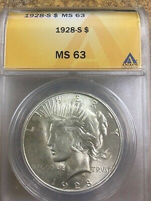 1928 S Peace Silver Dollar, ANACS authenticated MS 63