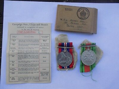 WW2 Medal Pair BWM & DEFENCE Medal in Box of Issue - Intelligence Corps?