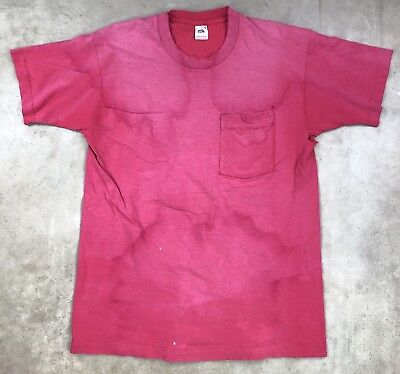 21x29 Faded Washed Out Red T Shirt Soft Worn Vintage USA Grunge 90s Ooze Fade