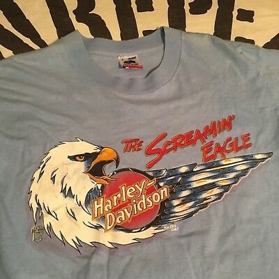 Vintage 1980's HARLEY-DAVIDSON Motorcycle T-Shit sz L ALABAMA Bikers Only USA