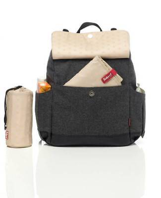 Babymel Robyn Changing Bag Backpack Tweed FREE Changing Mat & Bottle Cover BNWT