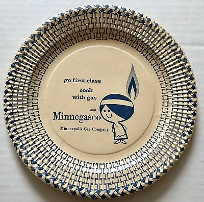 Scarce 1959 Minnie MINNEGASCO Indian Maiden PAPER PLATE advertising character