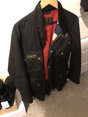 £279 Mens Barbour International Union Jack black waxed jacket size Medium Large
