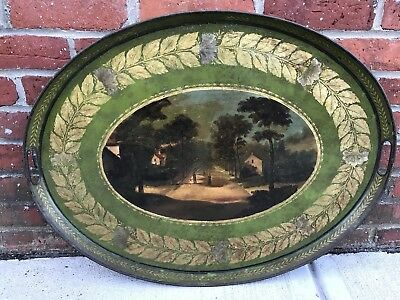 """Early Antique Peinte Large Oval Painted Tole Tray C1850 Appraised 27"""""""