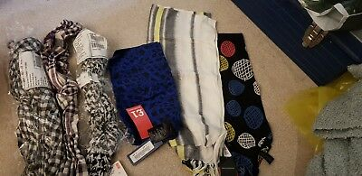 JOB LOT OF MENS SCARVES, 4 X cotton mix scarves plus 2 bandanas / handkerchiefs