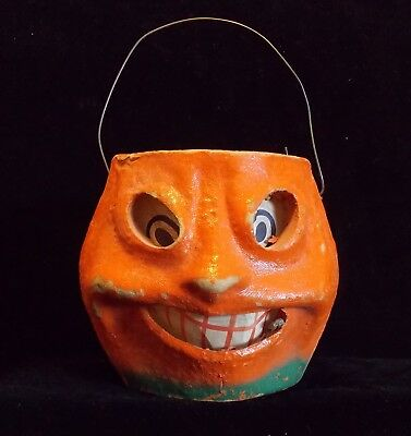 Antique Halloween Paper Mache Jack O'Lantern, Pail, Bucket