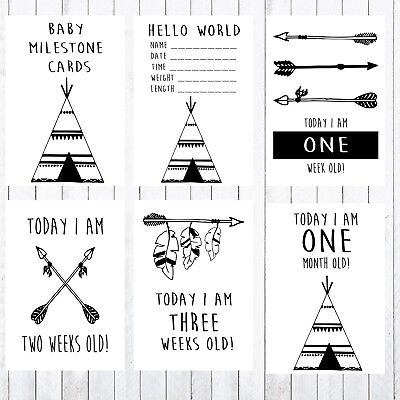Baby Milestone Cards, 4x6 Photo Prop, Age Cards, Teepee, Arrows
