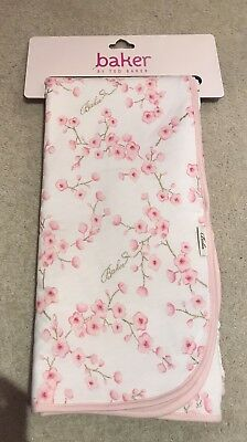 Ted Baker White & Pink Blossom Blanket With Glitter NEW