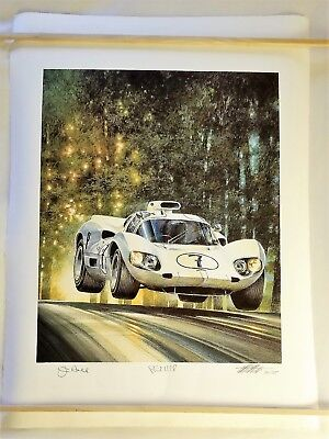 "AUTOGRAPHED ""High Flying Chaparral"" 2D Jim Hall Phil Hill Michael Mate Print"