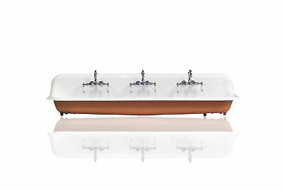 "Refinished Large Red 72"" Antique Farm Sink Cast Iron Porcelain Trough Sink Pkg"