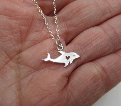 Dolphin w Heart Pendant Sea Beach & Nautical Fish Necklace - 925 Sterling Silver