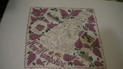 Vintage NEW HAMPSHIRE HANKIE w/ A New Hampshire Postage Stamp On It